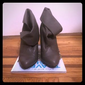 Report gray leather convertible bootie